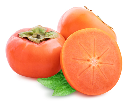 Fresh persimmon isolated on white background with clipping path 스톡 콘텐츠