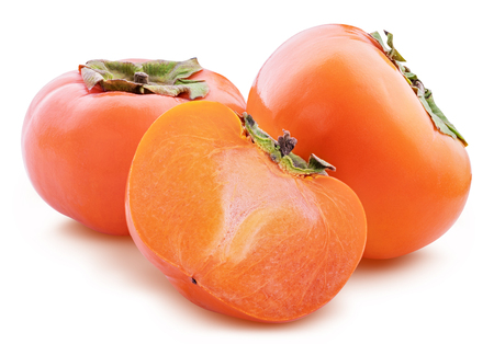 Fresh persimmon isolated on white background with clipping path Stock Photo