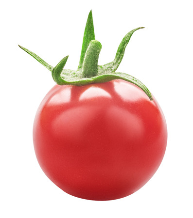 Red fresh tomato isolated on white background with clipping path