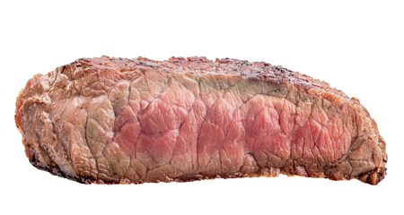 Raw beef steak, a piece of meat   isolated on white background with clipping path