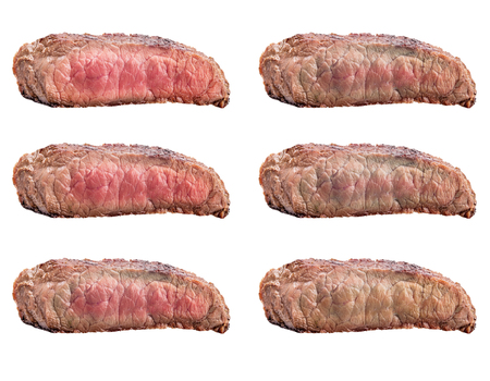 Raw steaks frying degrees: rare, blue, medium, medium rare, medium well, well done  isolated on white background with clipping path