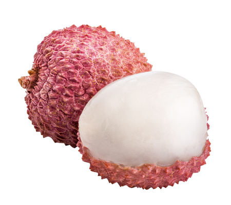 Fresh sweet lychee isolated on white background with clipping path