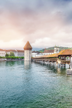 View of the old wooden bridge Capelbrucke in Lucerne. Switzerland in summer.