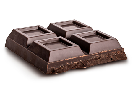 Pieces of dark chocolate isolated with shadow on white background