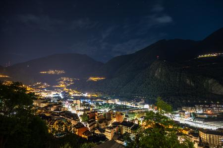 Andorra la Vella evening cityscape in Andorra la Vella, Andorra 写真素材