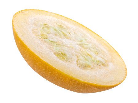 Sliced fresh yellow squash isolated on white background. Clipping path Stock Photo