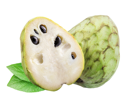 Collection of  cherimoyas (sugar apple) isolated on white background with shadow. Clipping path.
