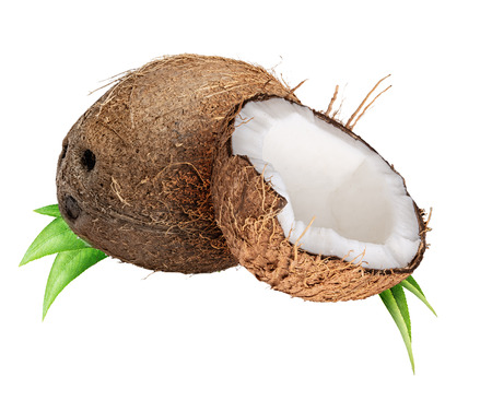 Group of coconuts isolated on white background
