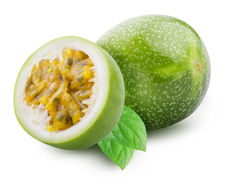 Green passion fruit isolated on white background with shadow. Clipping path