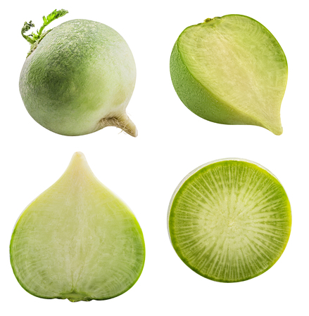 Fresh green raw redishes isolated on white background with shadow. Clipping path