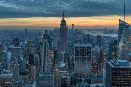 New York City skyscrapers, aerial panorama view in winter