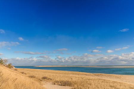 Coastline with sandy beach at Cape Cod in winter. USA