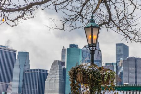 street lantern on the background of Manhattan Stock Photo