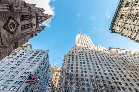 New york skyscrapers in Manhattan. Winter