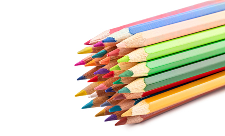 Colored pencils isolated on white backgroun . Clipping apth