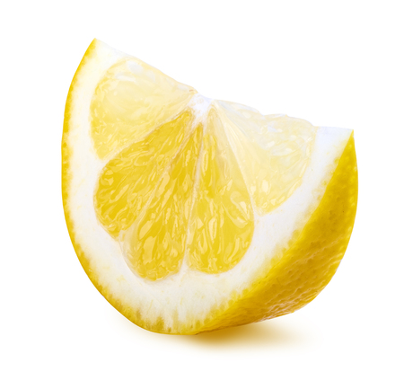 Segment of lemon isolated on white background. Clipping path Stock fotó