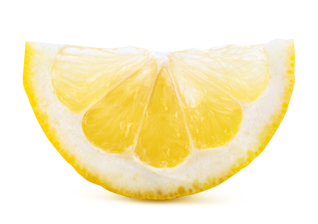 Segment of lemon isolated on white background. Clipping path Imagens