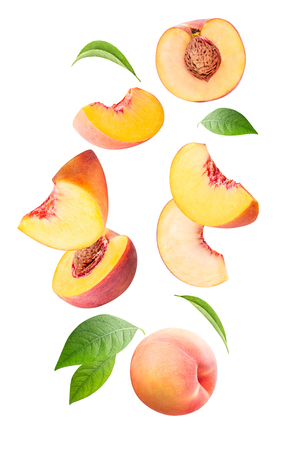 Falling fresh peach isolated on white background