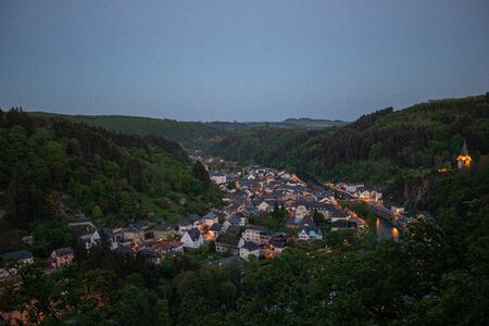 View of the city in the mountains. Vianden.