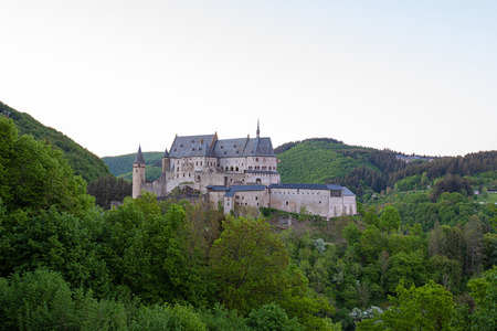 View of the castle in the mountains. Vianden.
