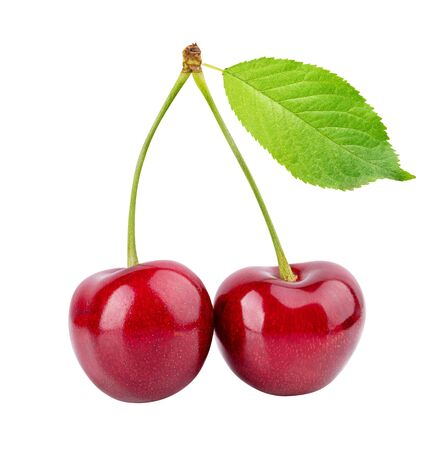 Kirschen (Merries) isoliert auf weißem Hintergrund Standard-Bild