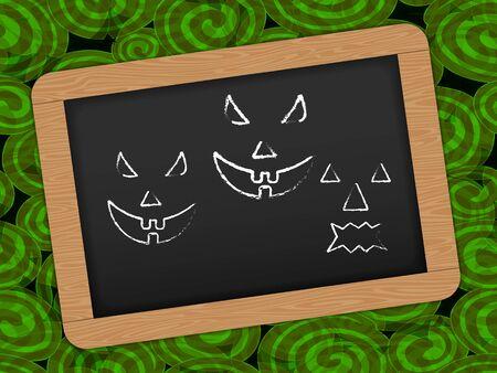 Chalkboard with wooden frame for Halloween Celebrations Çizim