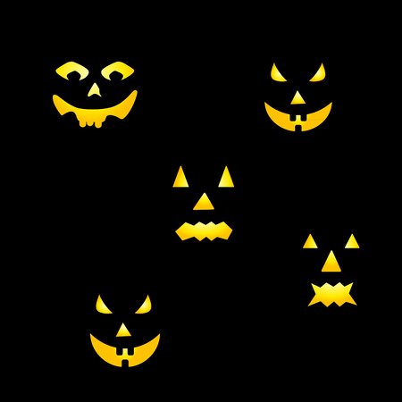 grimace: Scary faces of Halloween pumpkin Created in Vector