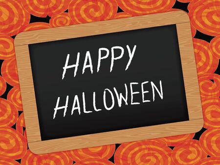 ハロウィーンのお祝いの木枠の黒板