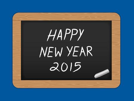 スレート黒板に幸せな新年のテキスト。ベクトル図