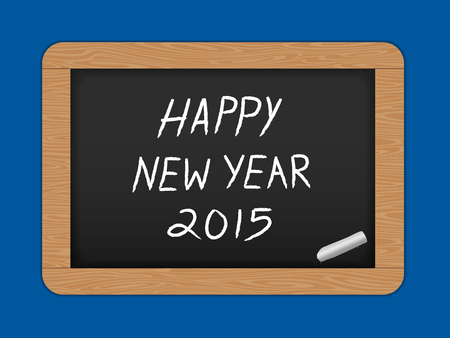 Happy New year text on Slate Chalk board. Vector illustration