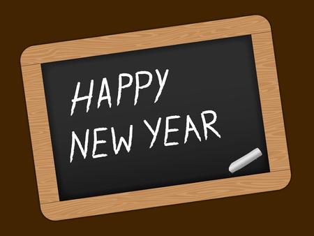 Gelukkig Nieuwjaar tekst op Slate Schoolbord. vector illustratie