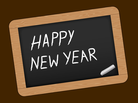 slate: Happy New year text on Slate Chalk board. Vector illustration