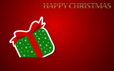 Happy Christmas Vector Background with Gift box. EPS 10. Easy to edit. Perfect for invitations or announcements.