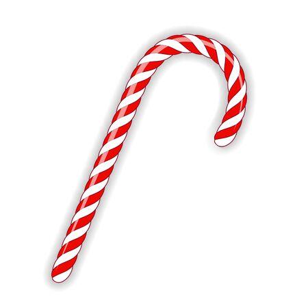 Single Christmas Candy cane  isolated on White