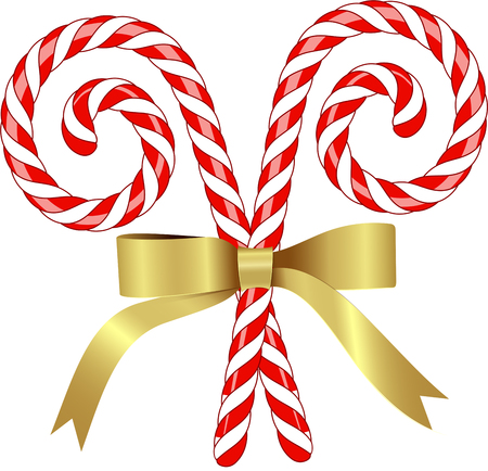 Christmas Candy cane Cane with Bow isolated in White