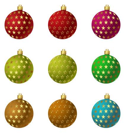 A set of Vector Christmas ornaments Balls. Eps 10. Easy to Edit. Çizim