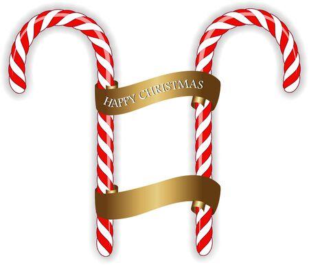 クリスマスのお菓子は白で分離された弓が付いている杖を杖します。