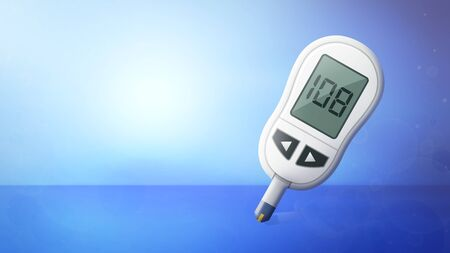 3D illustration of Medical background with Glucometer Stock Photo