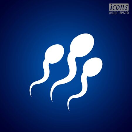 Human Sperms Vector Icon in blue background Vettoriali