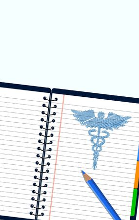 Caduceus Medical symbol sketch style in booklet 向量圖像