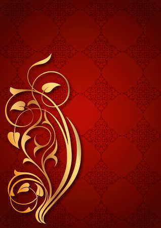 Golden floral patterns on red background Vector