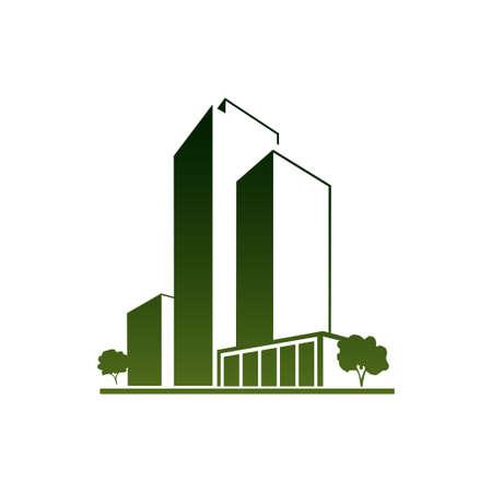 Groene appartementen Vector Illustratie