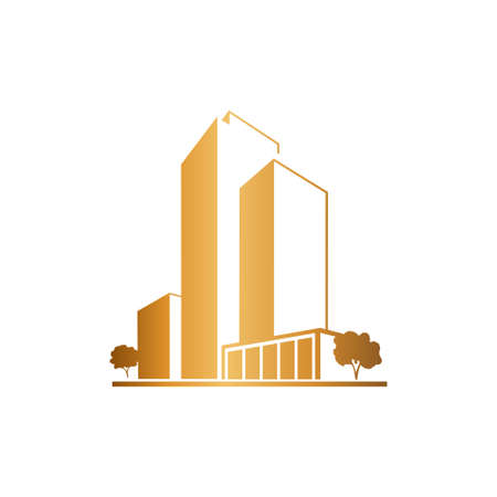 companies: Golden apartments over white Illustration