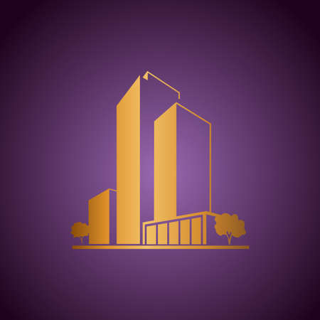 Golden apartments over purple Stock Vector - 19155189