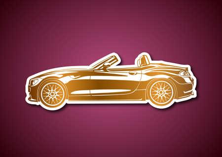 Golden sport car over pink paper Stock Vector - 19453140