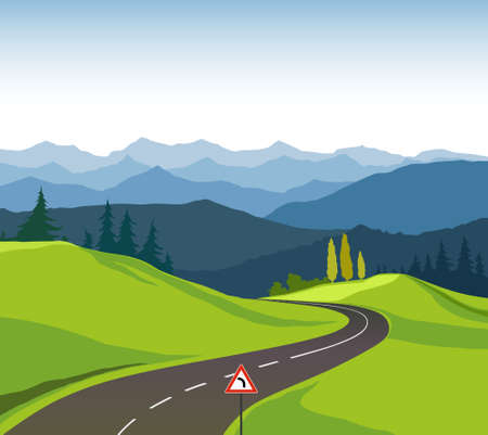 new automobiles: Road and landscape Illustration