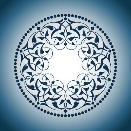 Blue Ottoman patterns over blue