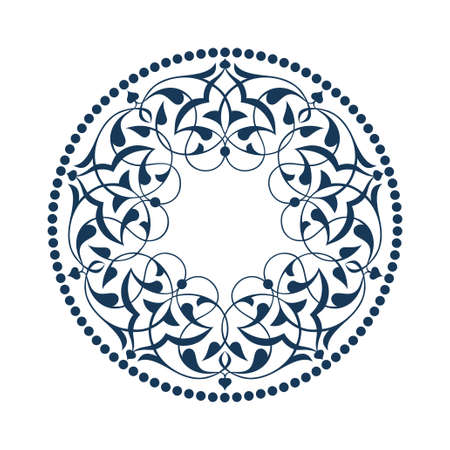 ottoman fabric: Blue Ottoman patterns over white Illustration