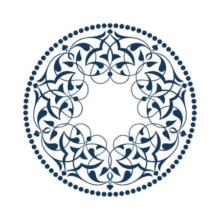 Blue Ottoman patterns over white Illustration