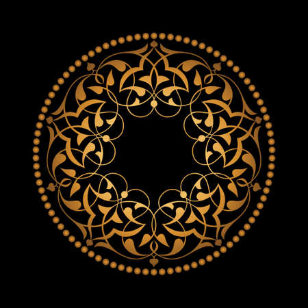 ottoman fabric: Golden Ottoman patterns over black